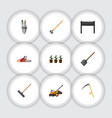flat icon farm set of hacksaw lawn mower tool vector image vector image