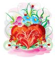 floral heart design vector image vector image