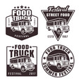 food truck set of four black emblems vector image vector image