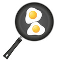 fried eggs in a frying pan 01 vector image vector image