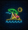 glowing neon summer sign with umbrella sun vector image vector image