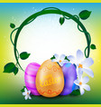 Happy easter greeting card with round frame of