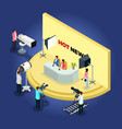 isometric telecast videotaping concept vector image