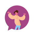 man chat bubble character open arms gesture male vector image