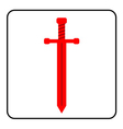 Medieval sword icon red vector image