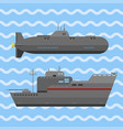 military technic army war ship and industry vector image vector image