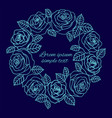pale blue outline roses wreath copy space vector image vector image