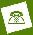 retro telephone sign white icon obtained vector image vector image