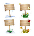 set of wooden signs in four seasons vector image