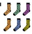set socks with leopard pattern original hipster vector image vector image