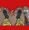 soldier machine gun feet shoes profession vector image