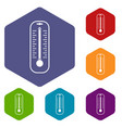 thermometer icons set hexagon vector image vector image