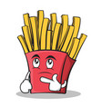 thinking face french fries cartoon character vector image vector image