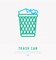 trash can with garbage thin line icon vector image