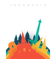 travel indonesia 3d paper cut world landmarks vector image vector image