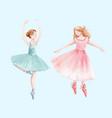 watercolor retro cute dancing girls ballet vector image