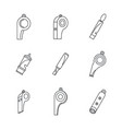 whistle coaching blow icons set outline style vector image vector image