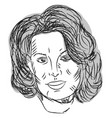 woman head drawing on white background vector image vector image