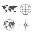 world map globe wind rose vector image