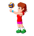 young girl volleyball player vector image vector image