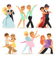 dancing couples romantic person and people dance vector image