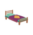 wooden bed for kids with pillow and purple blanket vector image