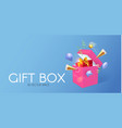 3d realistic gift box with gold bow and flying vector image