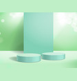 abstract 3d background podium and green display vector image