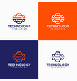 abstract technology logo template vector image