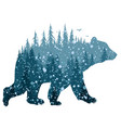 bear with winter forest vector image