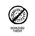 biohazard threat lettering hand drawn icon vector image