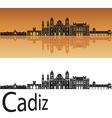 Cadiz skyline in orange vector image vector image