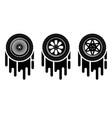 car wheels painting set vector image