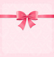 card witch silk pink ribbon and bow vector image vector image