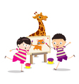 Cartoon kids with painting canvas vector image vector image