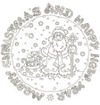 christmas card with santa and gifts vector image