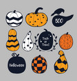 colorful pumpkins halloween vector image