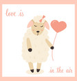 cute sheep in love with heart balloon vector image vector image