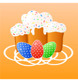 Easter greeting card with eggs and cakes vector image vector image