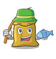 fishing flour mascot cartoon style vector image vector image