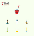 flat icon broomstick set of bucket equipment mop vector image vector image