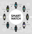 flat smart watch round concept vector image vector image