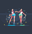 girls play tennis on court vector image