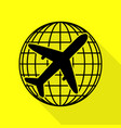 globe and plane travel sign black icon with flat vector image vector image