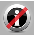 gray chrome button - no information symbol vector image