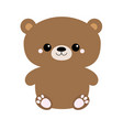 grizzly brown bear toy sitting big eyes cute vector image