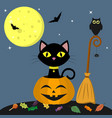 happy halloween a black cat is sitting in a vector image