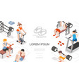 isometric fitness and sport composition vector image vector image