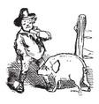 jack sprats pig vintage vector image vector image