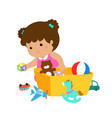 kid girl storing toys vector image vector image